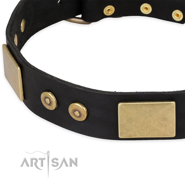 Reliable fittings on full grain genuine leather dog collar for your pet