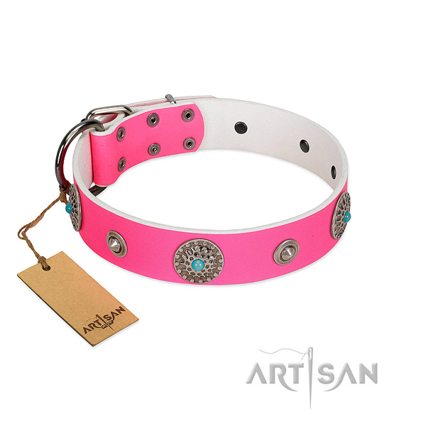 Soft to touch leather dog collar made for your pet