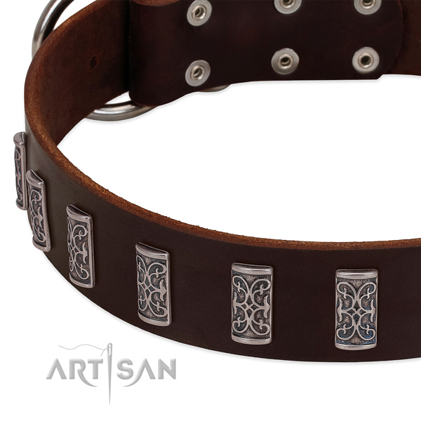 Quality full grain natural leather dog collar handmade for your dog