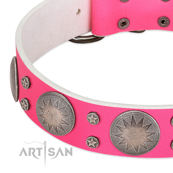 Soft full grain genuine leather dog collar for your beautiful doggie