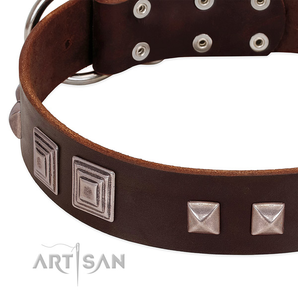 Corrosion resistant hardware on natural genuine leather dog collar for comfortable wearing