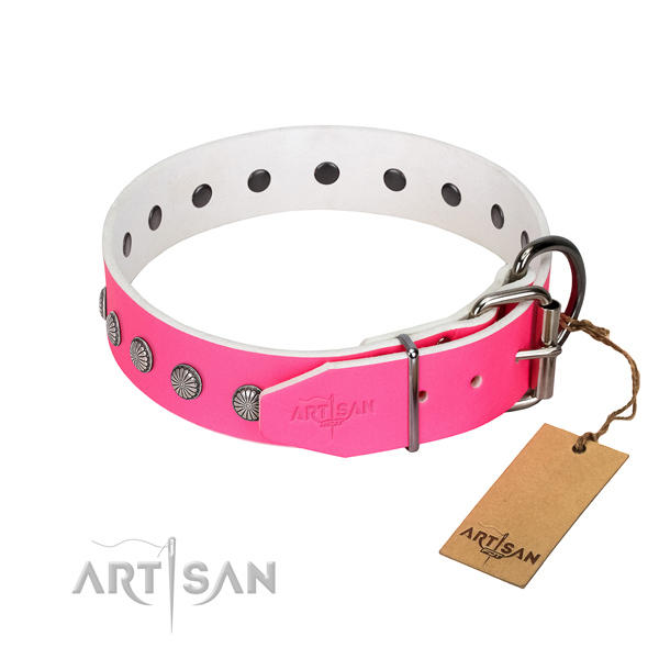 Stylish design genuine leather collar for comfortable wearing your pet