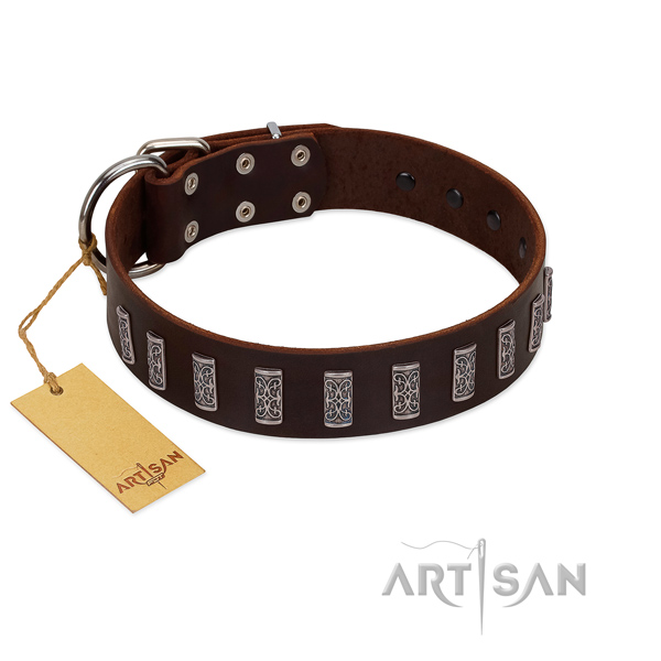 Top rate natural leather dog collar with corrosion proof hardware