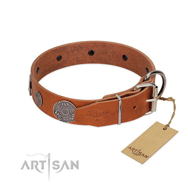 Easy wearing full grain genuine leather collar for your beautiful four-legged friend