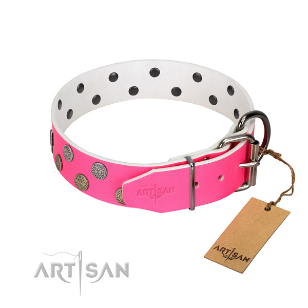 Durable buckle on full grain leather dog collar for daily walking