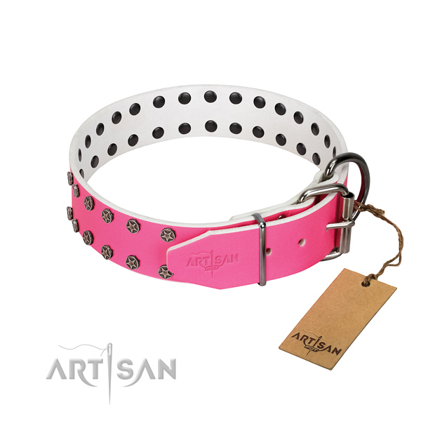 Soft to touch natural leather dog collar with studs for your doggie