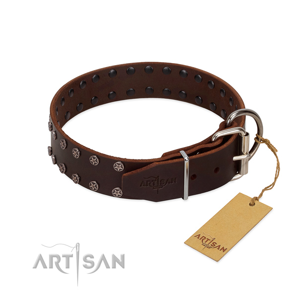 Top rate full grain natural leather dog collar with decorations for your doggie