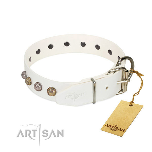 Comfy wearing top rate full grain genuine leather dog collar