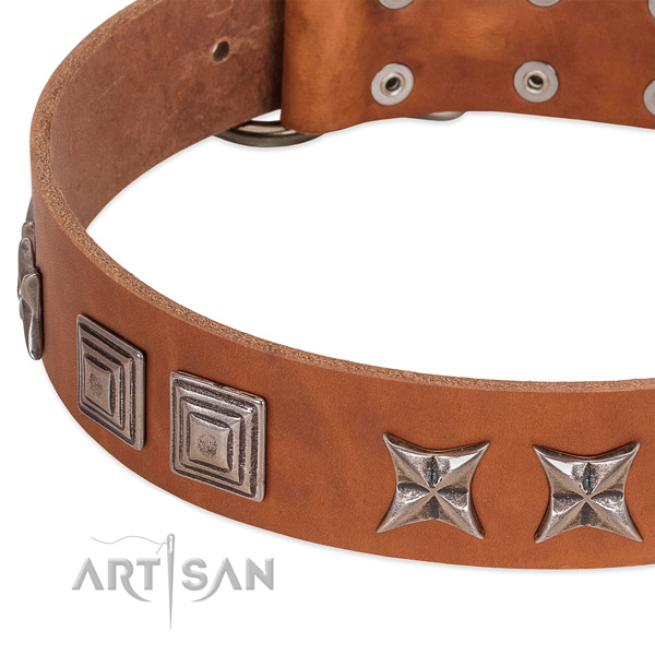 Reliable full grain genuine leather dog collar with corrosion resistant traditional buckle