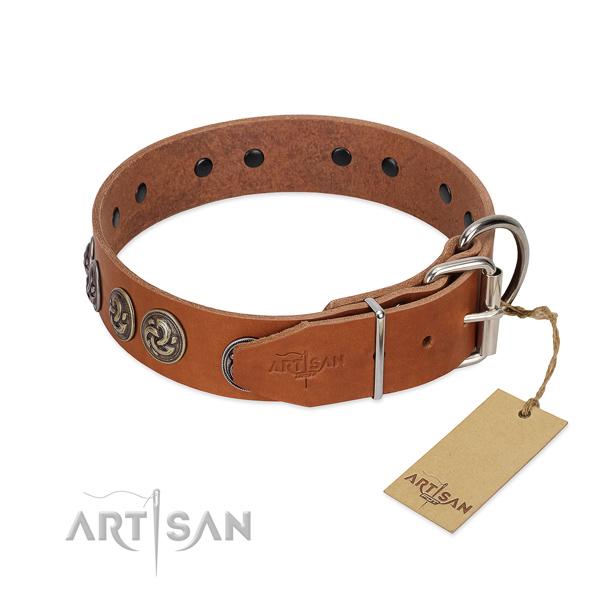 Durable fittings on top quality full grain natural leather dog collar