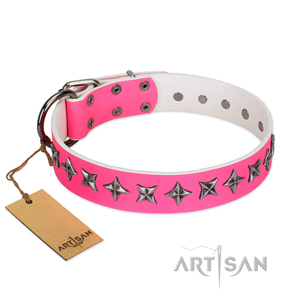 Best quality leather dog collar with extraordinary decorations