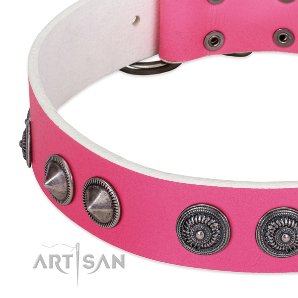 Easy adjustable natural leather collar with studs for your doggie