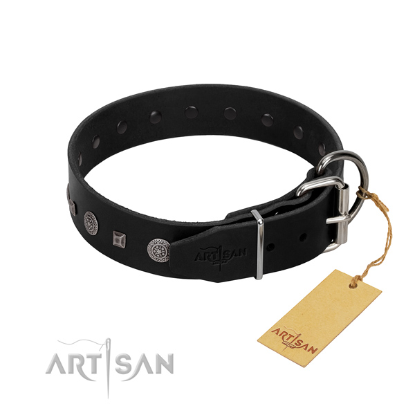 Reliable traditional buckle on convenient full grain natural leather dog collar