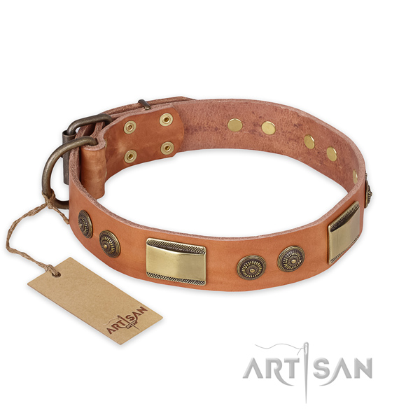 Top quality full grain leather dog collar for fancy walking