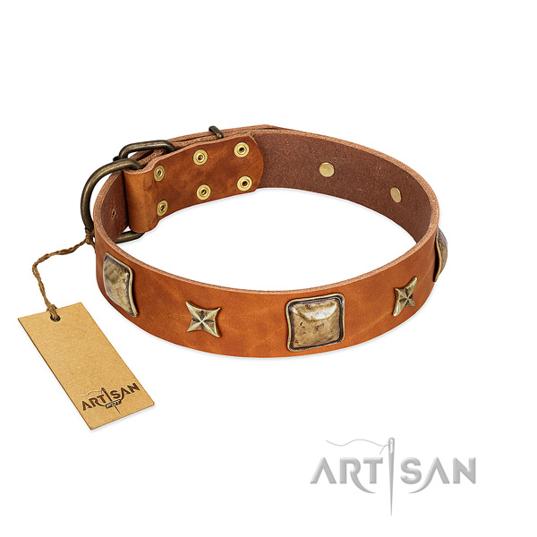 Handmade full grain leather collar for your doggie