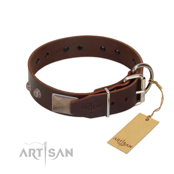 Impressive natural genuine leather dog collar for stylish walking your doggie