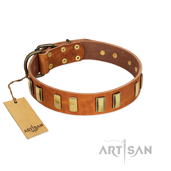 Soft full grain natural leather dog collar with rust-proof buckle
