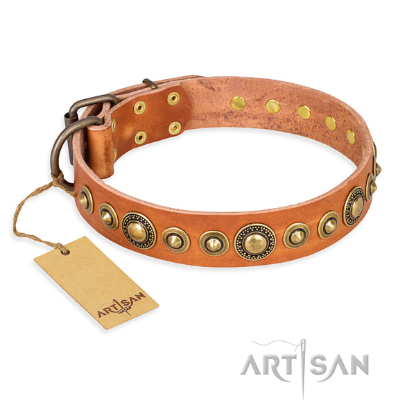 Reliable genuine leather collar made for your canine