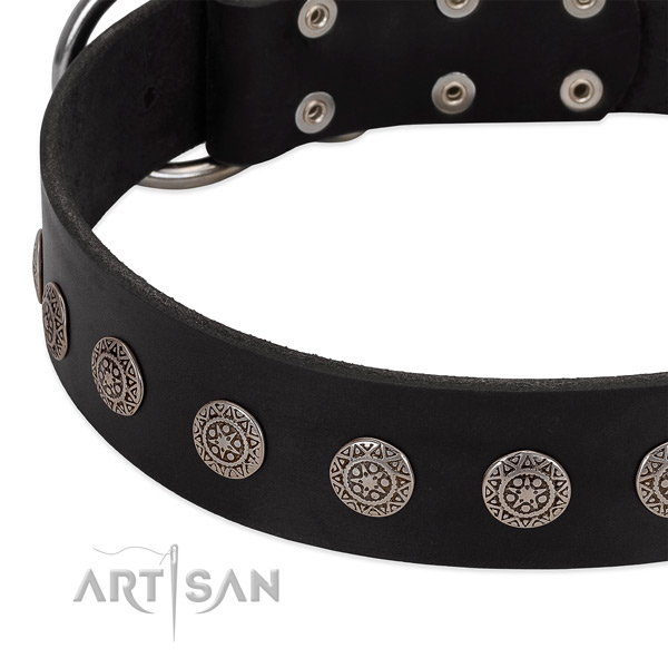 Trendy dog collar of full grain leather with embellishments