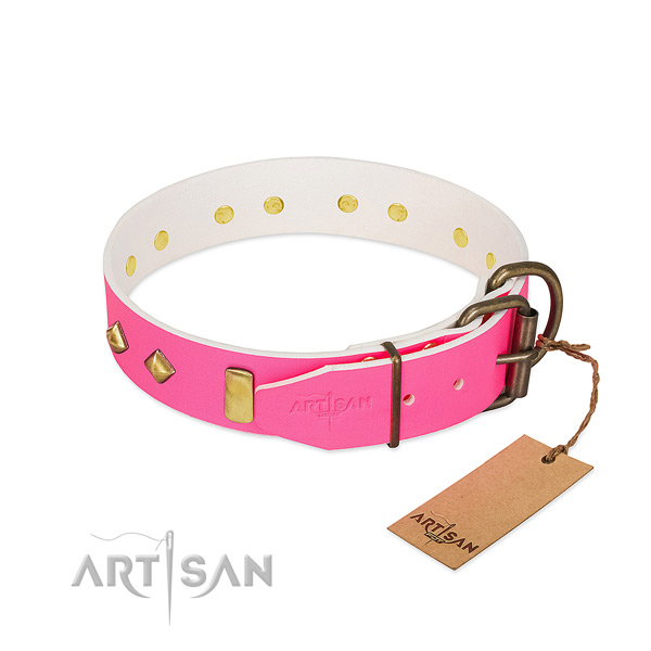 Full grain genuine leather dog collar with corrosion resistant hardware for everyday use