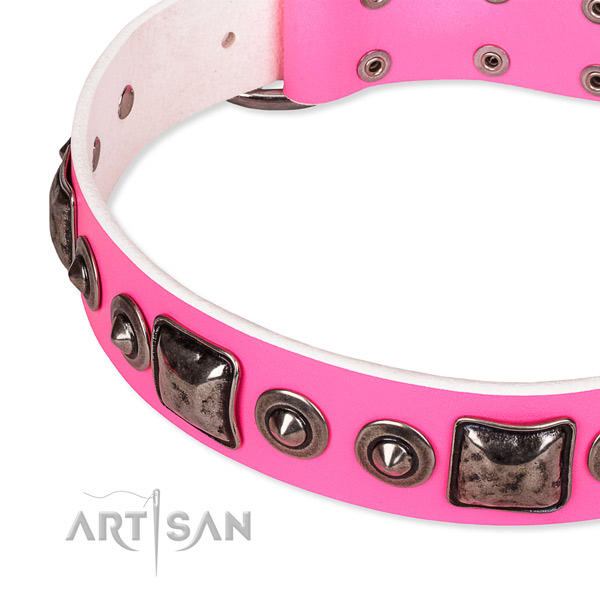 Top notch full grain genuine leather dog collar handcrafted for your impressive dog