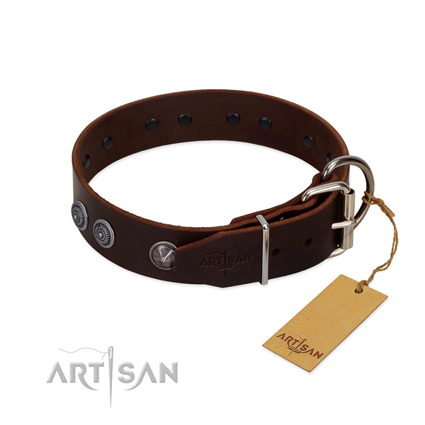 Easy to adjust leather dog collar for handy use
