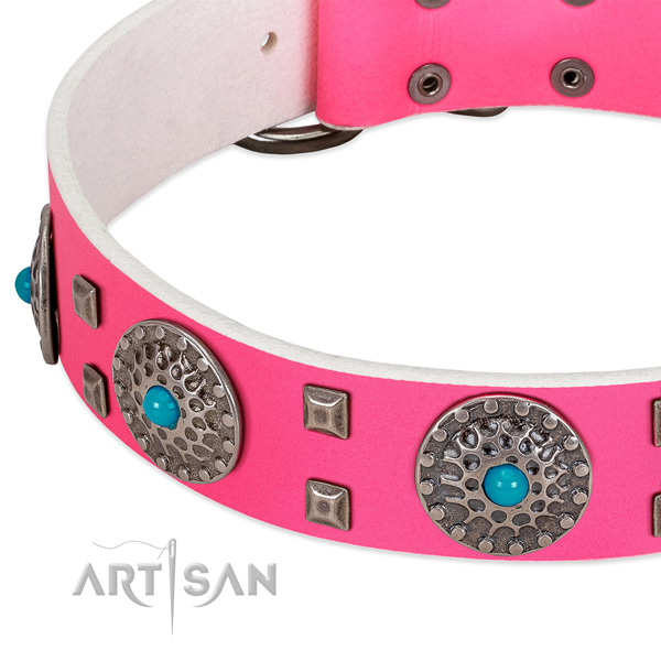 Soft to touch full grain natural leather dog collar with exceptional studs
