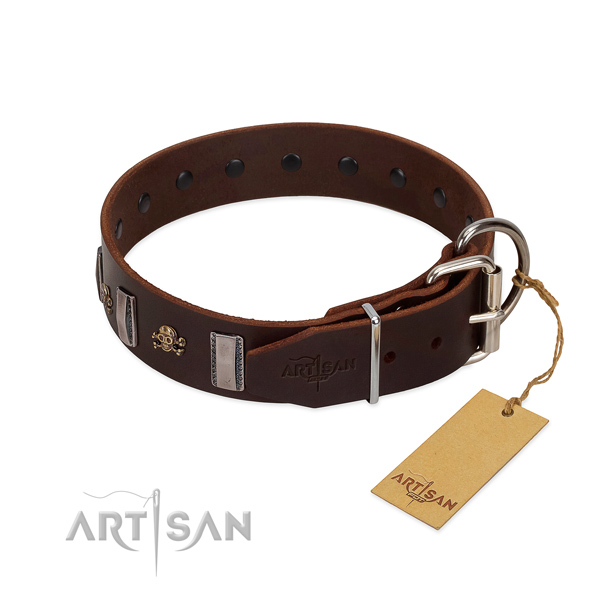 Comfy wearing soft to touch full grain leather dog collar with embellishments
