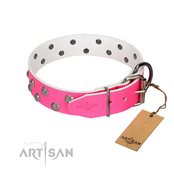 Corrosion resistant D-ring on embellished full grain leather dog collar