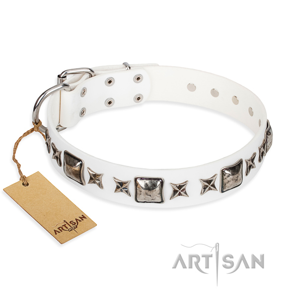 Full grain genuine leather dog collar made of gentle to touch material with rust resistant hardware