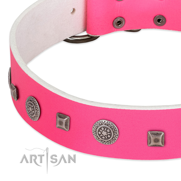 Soft natural leather collar with embellishments for your doggie
