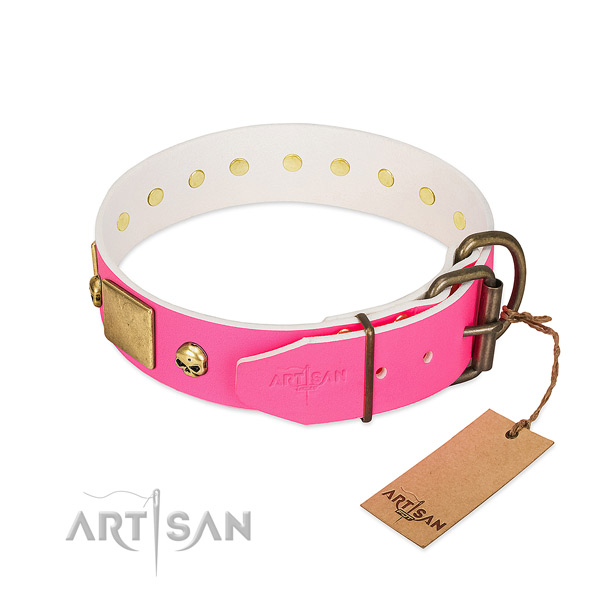 Rust resistant embellishments on soft to touch full grain natural leather dog collar