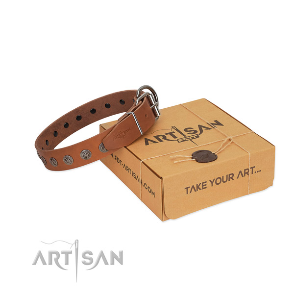 Designer embellishments on leather dog collar for comfortable wearing