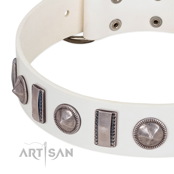 Fashionable decorated leather dog collar for fancy walking