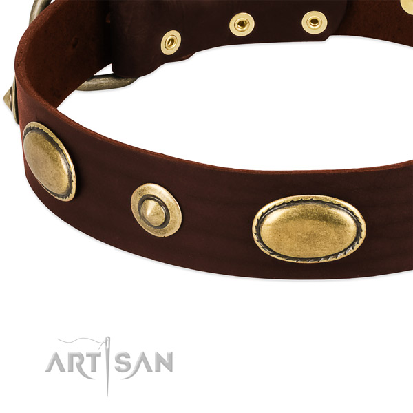Corrosion resistant hardware on full grain natural leather dog collar for your pet