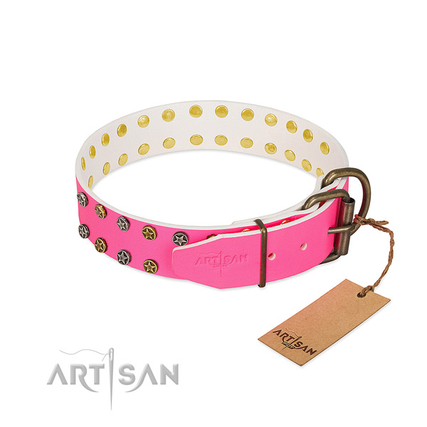 Quality genuine leather collar with decorations for your four-legged friend