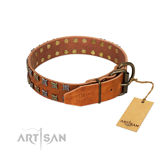 Best quality full grain genuine leather dog collar crafted for your dog
