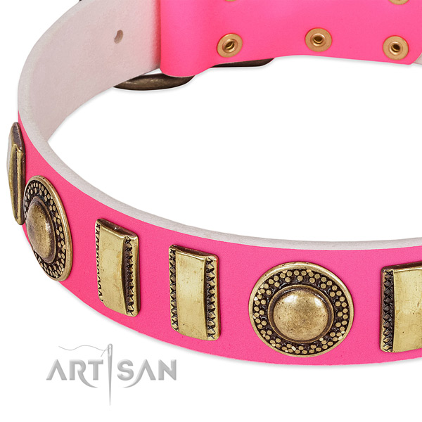 Top rate full grain natural leather dog collar for your lovely pet
