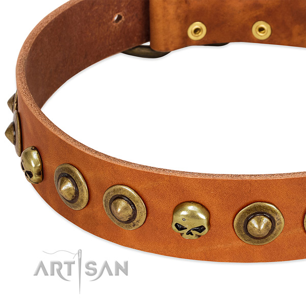 Unique decorations on full grain genuine leather collar for your dog