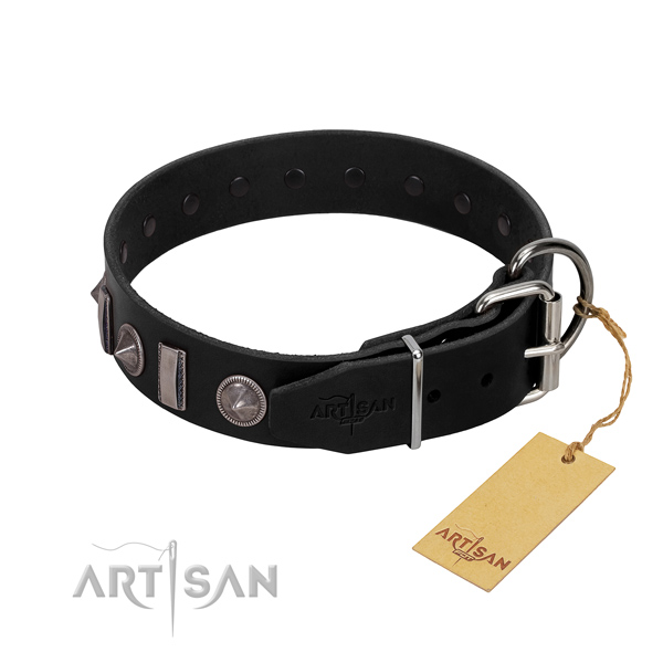 Best quality full grain natural leather dog collar with decorations for your impressive dog
