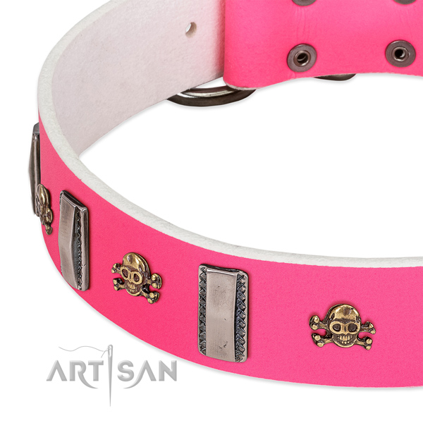 Exceptional adornments on genuine leather dog collar for comfy wearing