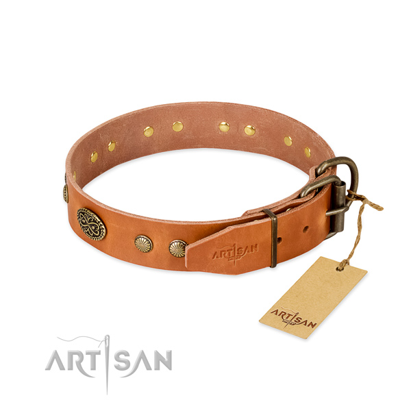 Reliable hardware on full grain natural leather dog collar for your pet