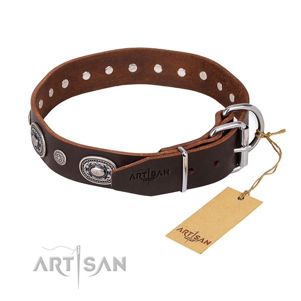 High quality full grain natural leather dog collar handcrafted for walking