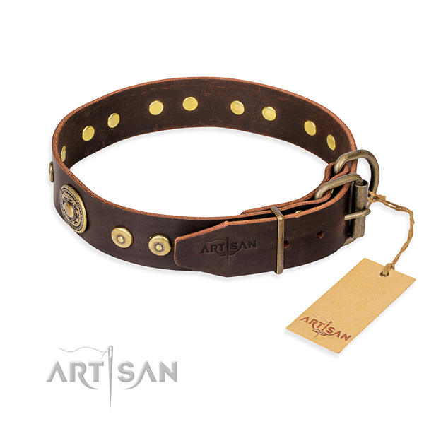 Full grain natural leather dog collar made of top notch material with rust-proof embellishments