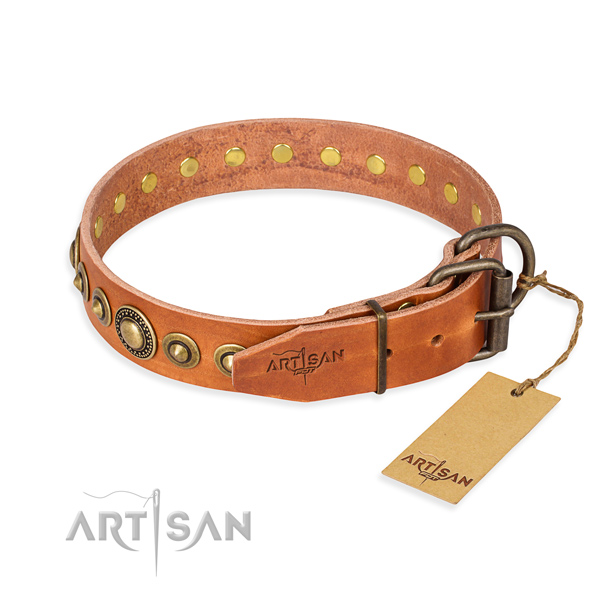Durable leather dog collar handcrafted for handy use