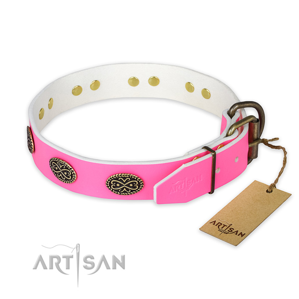 Everyday use full grain genuine leather collar with studs for your canine
