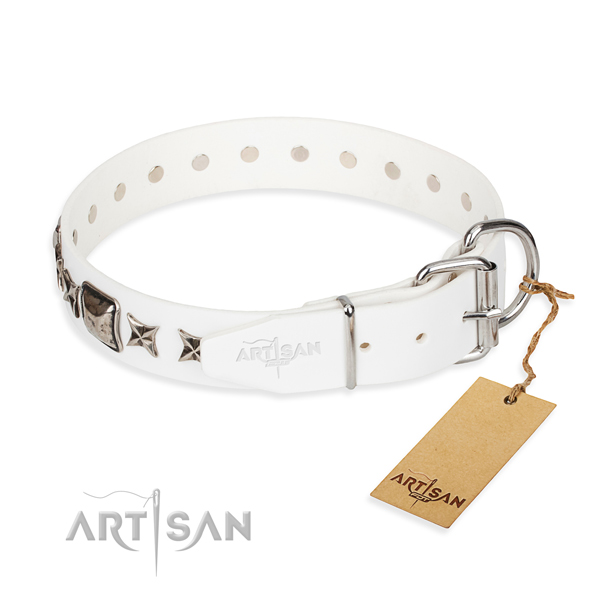 Fine quality embellished dog collar of natural leather