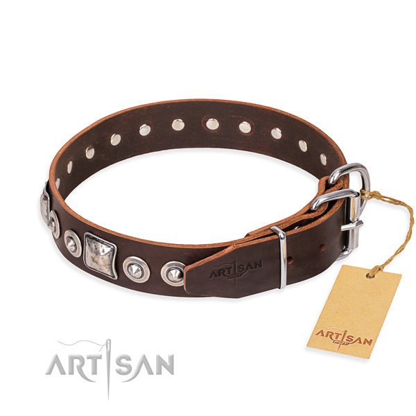 Genuine leather dog collar made of reliable material with durable studs