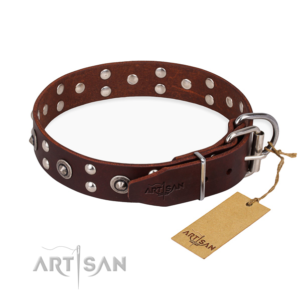 Rust resistant D-ring on genuine leather collar for your stylish dog