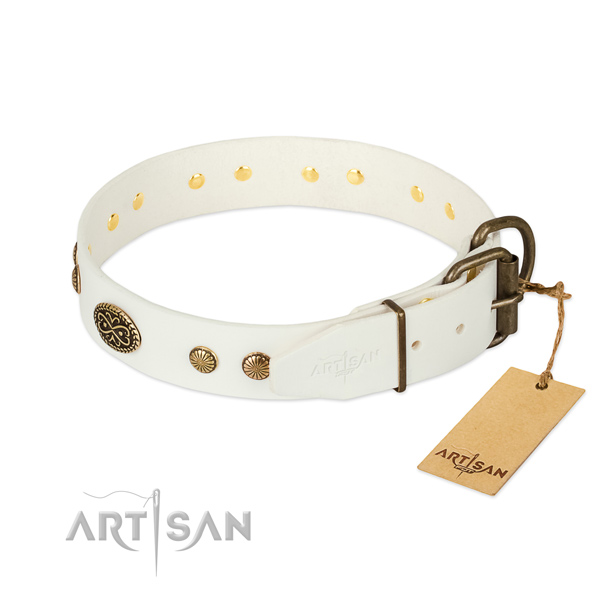 Rust-proof fittings on full grain genuine leather dog collar for your canine